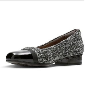 Clarks Keesha Rosa gray tweed shoes 8 1/2 Wide